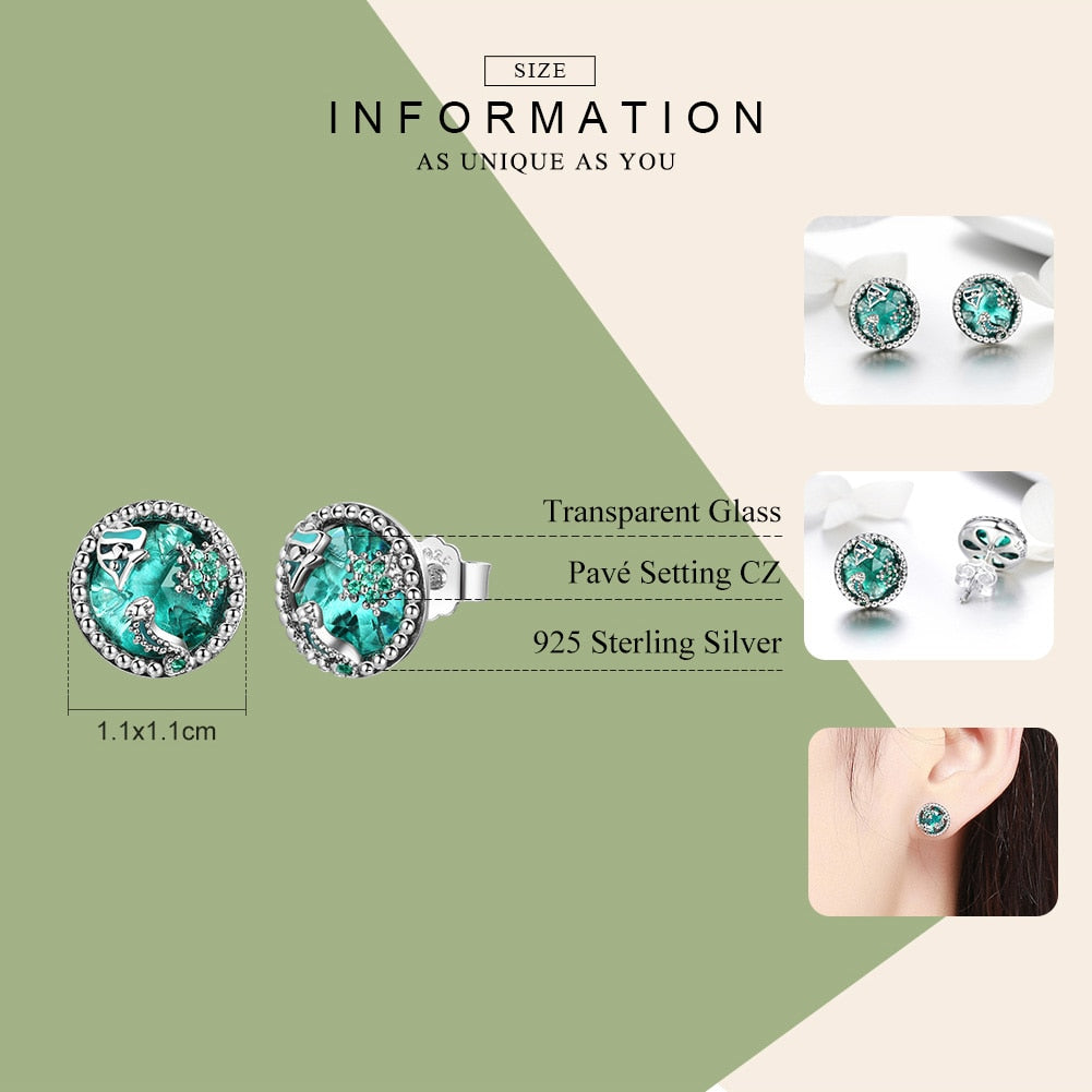 WOSTU Authentic 925 Sterling Silver Underwater Fish Stud Earrings For Women Birthday Party Original S925 Jewelry Gift SCE496