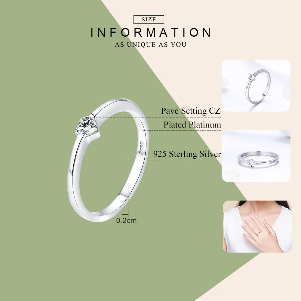 WOSTU Heart CZ Finger Rings For Women Fashion Wedding Ring Anel Brand Jewelry Gift SCR450 - WOSTU