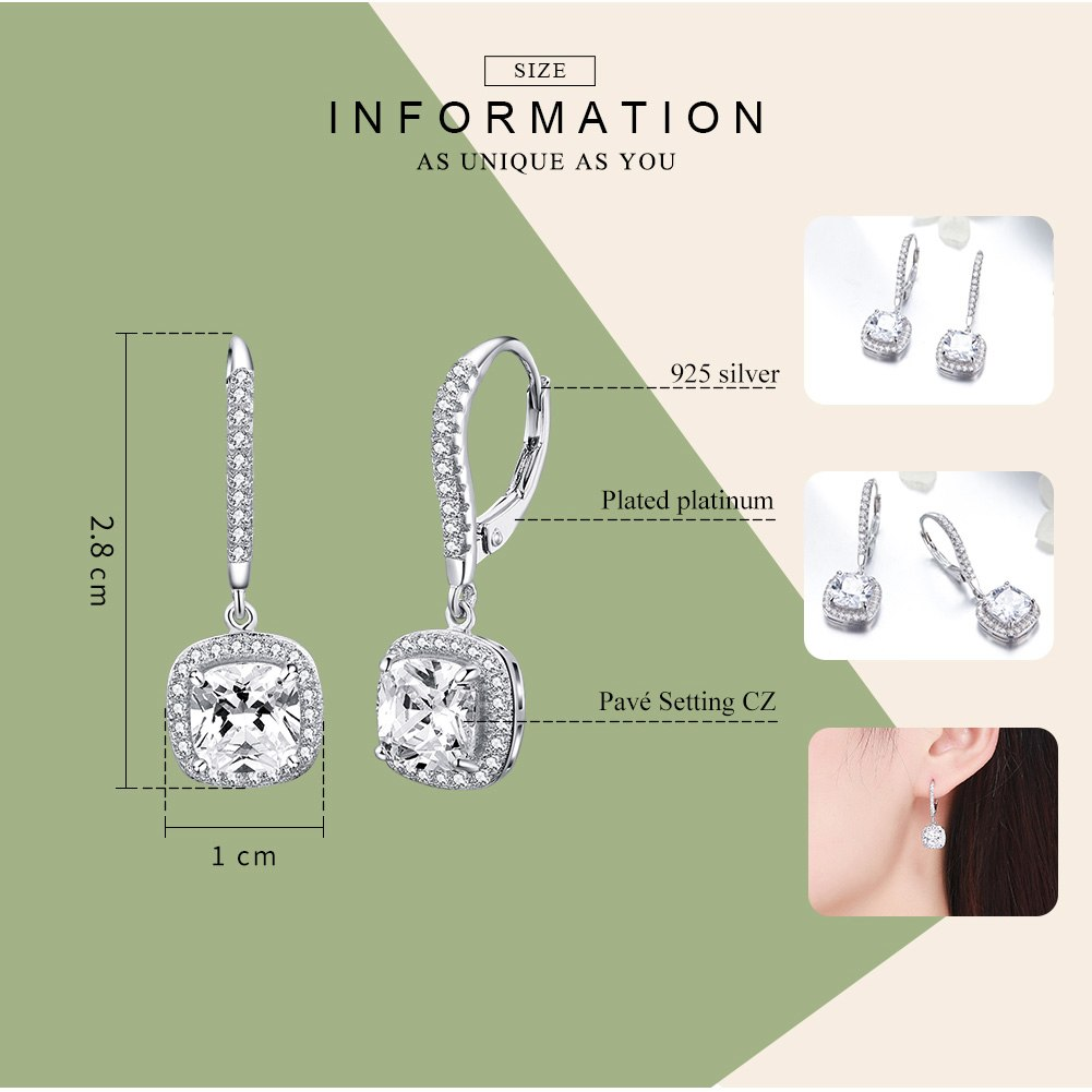 WOSTU Fashion Square Drop Earring With Clear CZ Women Jewelry Earrings Luxury Brand Gift SCE520 - WOSTU
