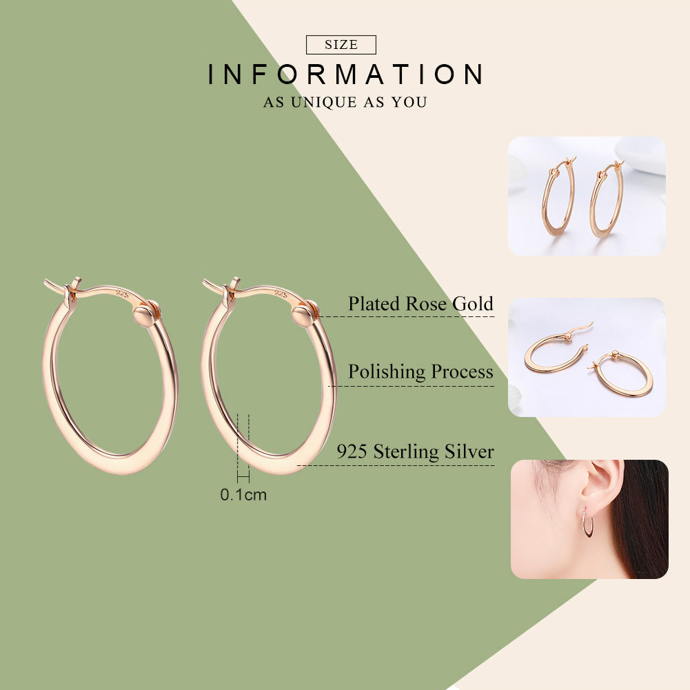 WOSTU Rose Gold Color Hoop Earrings For Women Daily Birthday Gently Elegant Jewelry Gift SCE478 - WOSTU