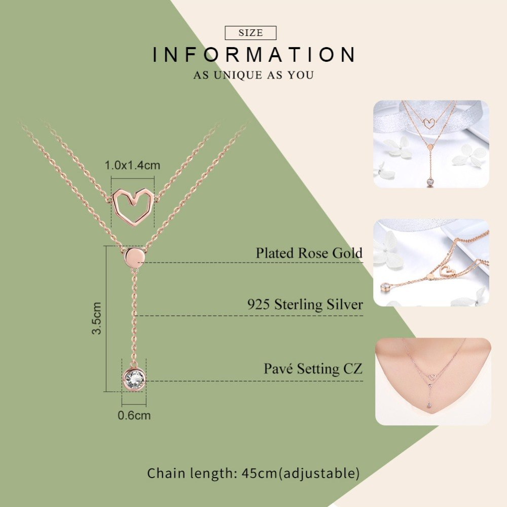 WOSTU Korean Heart Zircon Necklaces Pendant Double Chain Rose Gold Necklace Luxury Jewelry Love Gift SCN317 - WOSTU