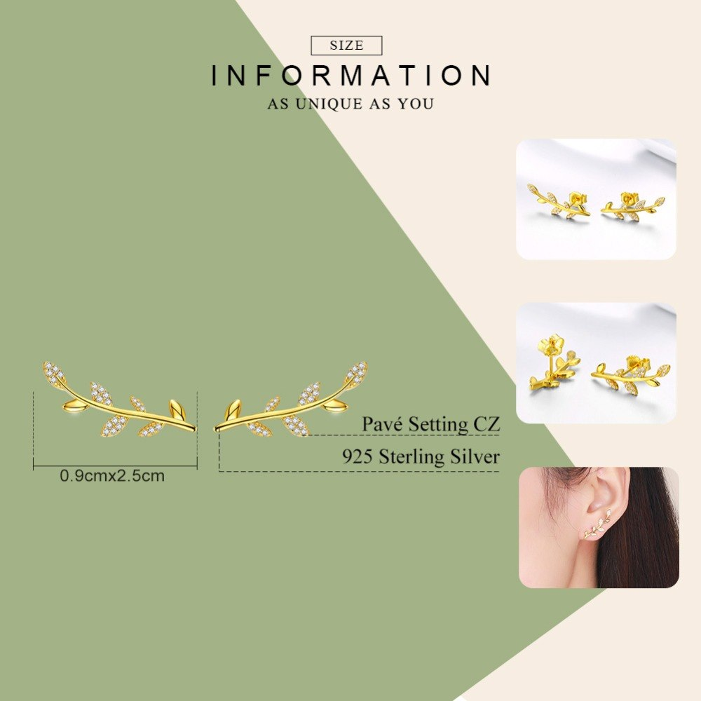 WOSTU Flower Leaves Stud Earrings Zircon Small Gold Earrings For Women Wedding Jewelry SCE556 - WOSTU
