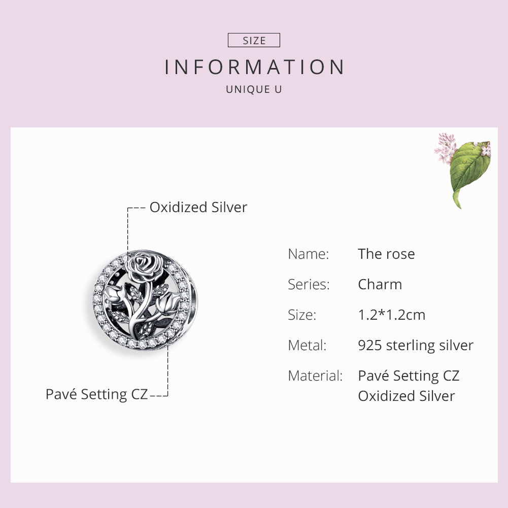 WOSTU Spring Flower Rose Beads Clear CZ Charm Fit Original Bracelet Pendant DIY Silver 925 Jewelry SCC1189 - WOSTU