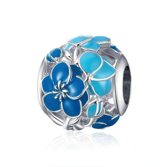 WOSTU Blue Blossom Flower Beads 100% 925 Sterling Silver Charm Fit Original Bracelet Pendant Silver DIY Jewelry Making BSC087 - WOSTU