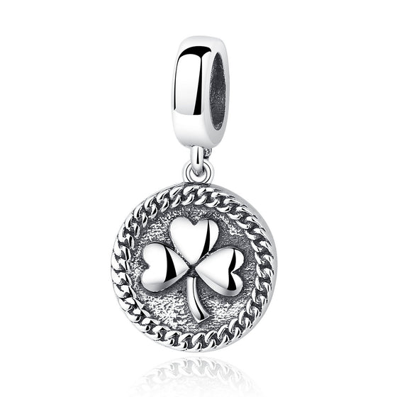 Sterling Silver Clover Round Shaped Pendant - WOSTU
