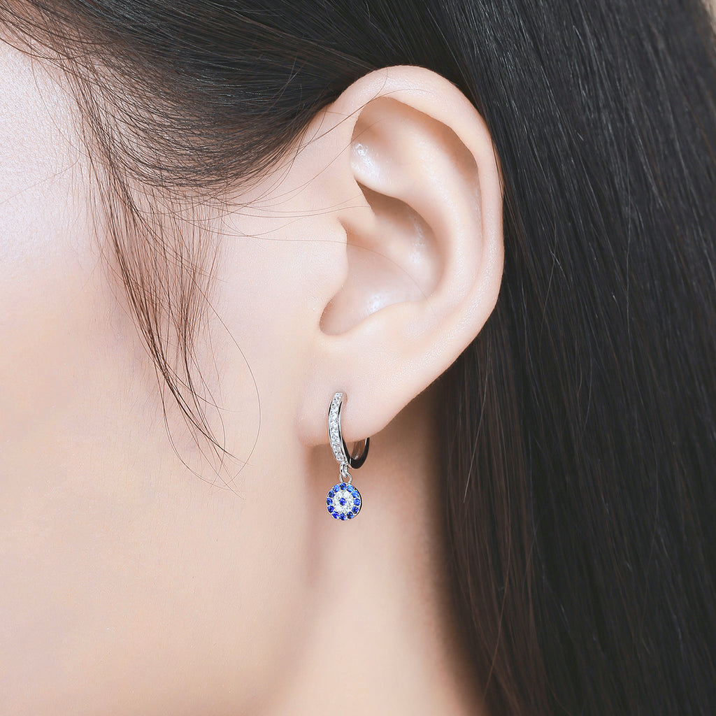 925 Sterling Silver Blue Clear Crystal Drop Earrings - WOSTU