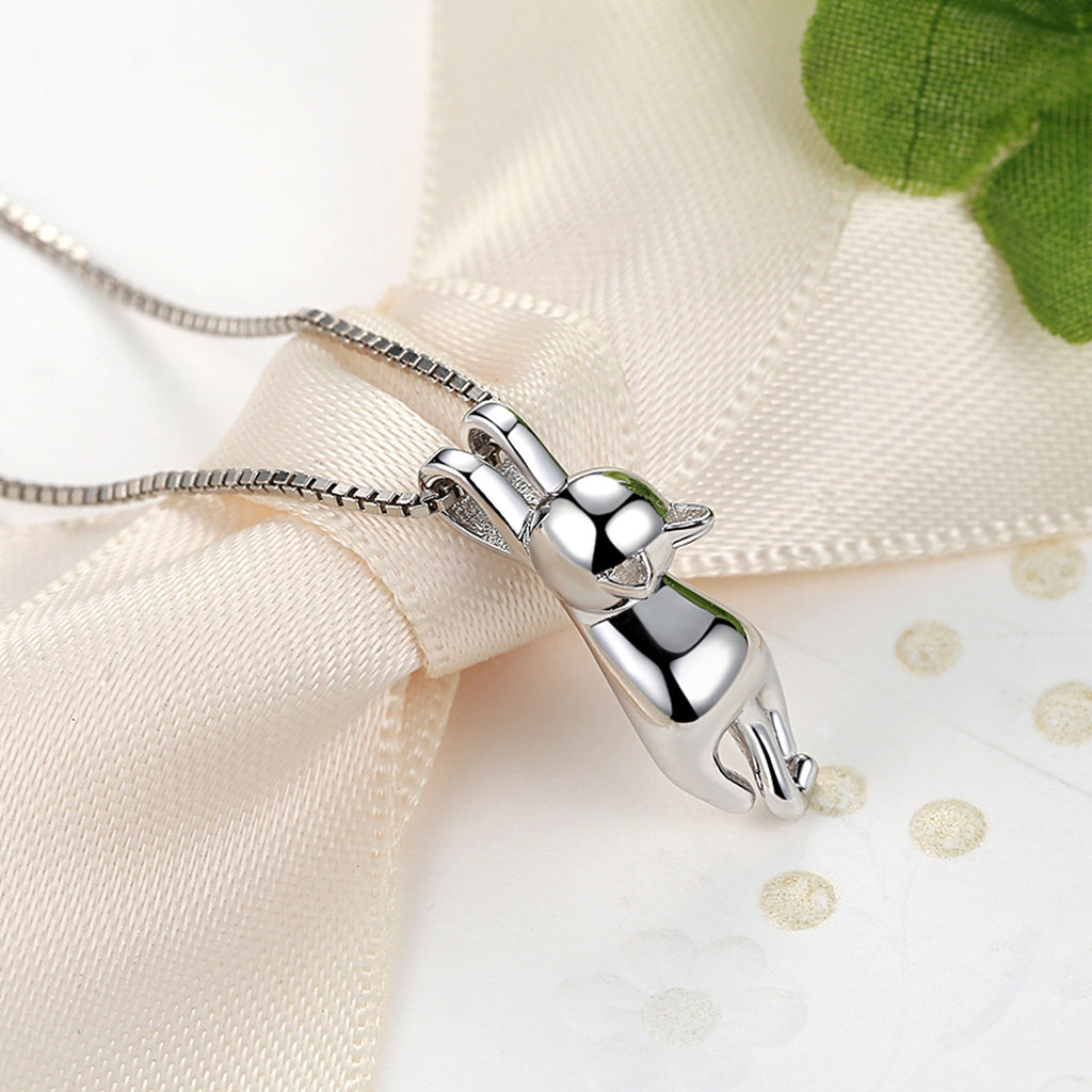 Smooth 925 Sterling Silver Lovely Cat Long Tail Necklaces & Pendants S925 Fine Jewelry SCN032