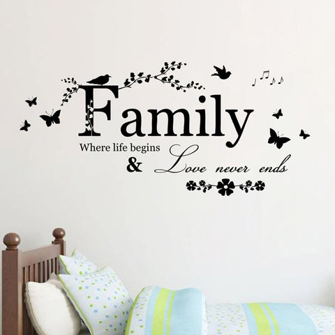 Buy Family Flower Butterfly Art Vinyl Quote Wall Stickers Wall Decals Home Deco at DekiGo wall sticker
