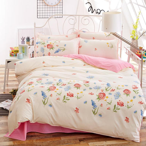 Flower Print Floral Bedding Set