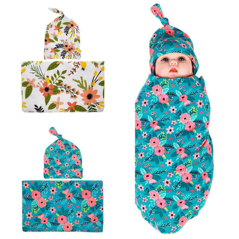 Buy Baby Blanket & Swaddling Hot Burst Baby Wrapped Cloth Blanket Flower Tire Cap Set at DekiGo baby blanket