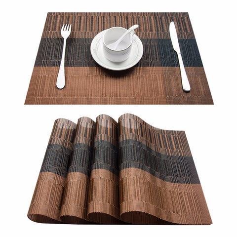 4 PVC Bamboo Plastic Placemats for Dining Table