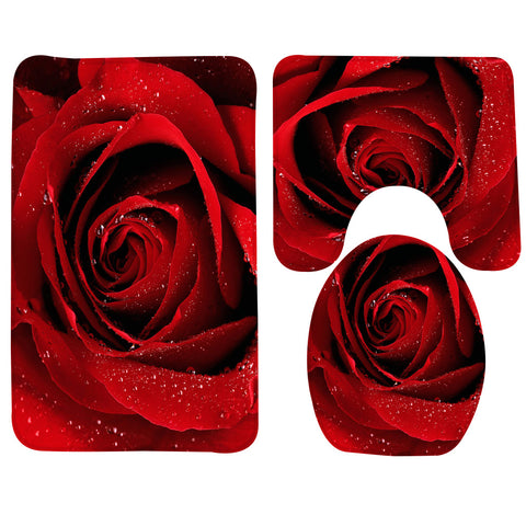 3 Pcs Rose Pattern Toilet Mat