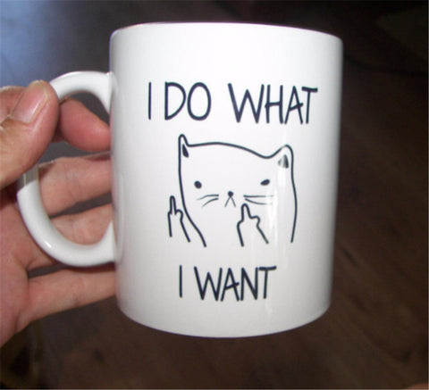 Buy I DO WHAT I WANT Ceramic Coffee Mug Funny Cat Middle Finger Mugs For Coffee Tea Milk Gifts 10oz at DekiGo coffee mug
