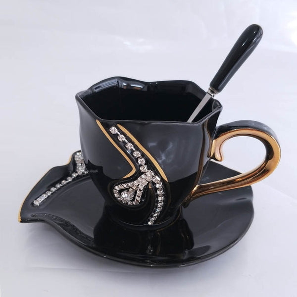 Buy Diamonds Design Coffee Mug Creative Gift Lovers Tea Cups 3D Ceramic Mugs With Rhinestones Decoration Cups And Saucers at DekiGo coffee mug