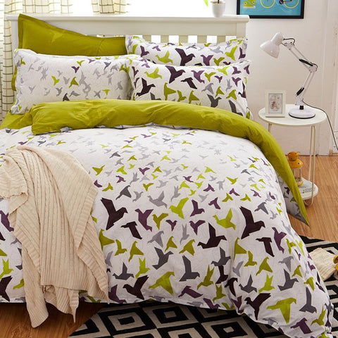 Buy 5 Size Green Bird Bedding Set at DekiGo