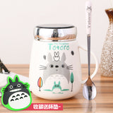 Cartoon totoro coffee mug cartoon tea milk copo with lid large capacity cup drinkware with spoon 400ml