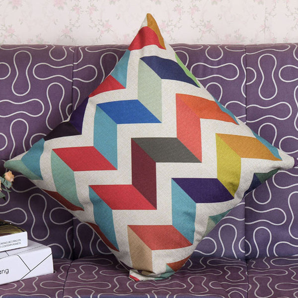 Buy Color Wave shape geometric cushion covers decorative pillows home decor at DekiGo