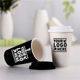 Cute Coffee Mug Ceramic Cup Travel Coffee Mug With Silicone Lid For Tea And Coffee Custom LOGO Printed
