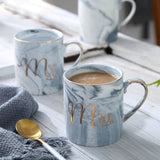 Mr And Mrs Ceramic Coffee Mug Couples Coffee Cup Novelty Milk Juice Cups Gold & Marble Design Thermocup Valentine's Day Gift