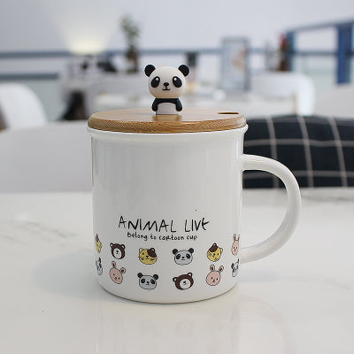 Panda Cups Ceramic Animal Coffee Mugs Milk Mugs Tea Cup with spoon,lid Thermos water Bottle 300ml For Kids Birthday Gifts