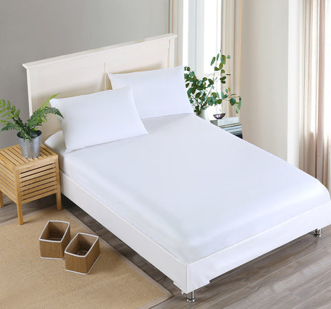 Solid Color Fitted Sheet Set Sanding Pillowcases Bedding Set
