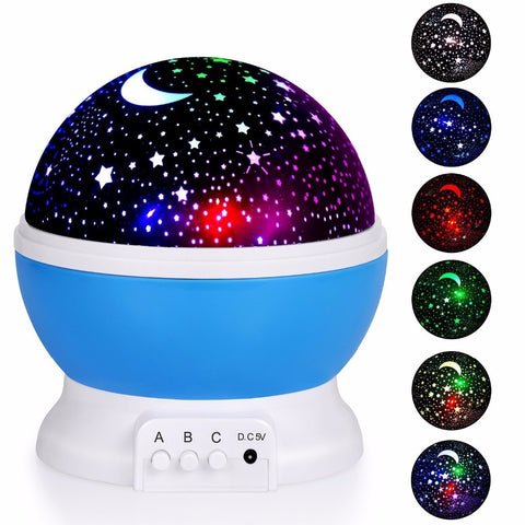 Buy Romantic Rotating Star Moon Sky Rotation Night Projector at DekiGo