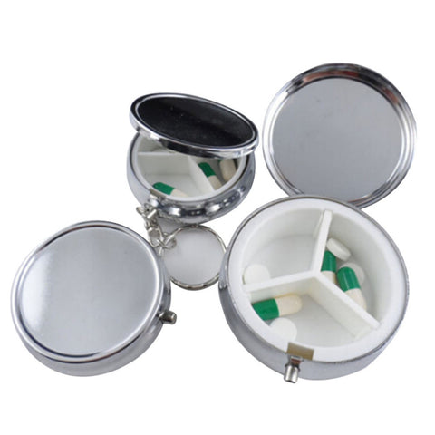Buy 1PCS Silver Metal Round Tablet Pill Box at DekiGo