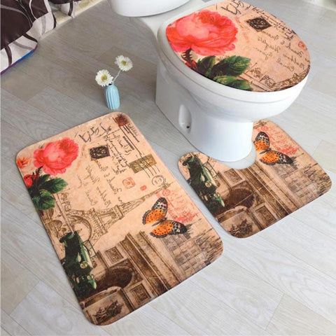 Buy 3Pcs/set Flannel Anti Slip Bathroom Mat Set at DekiGo bath rug
