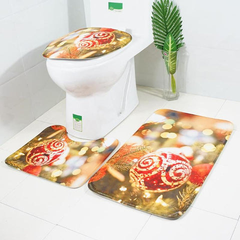 Buy 3pcs/set Christmas Bathroom Mats Set at DekiGo bath rug