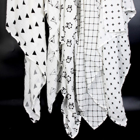 Buy Ainaan Muslin Cotton Baby Swaddles For Newborn Baby Blankets Black & White Gauze Bath Towel at DekiGo