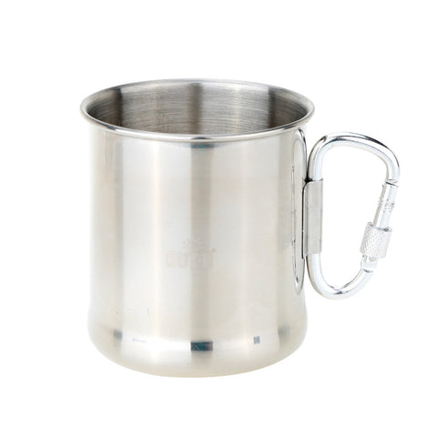 Buy 250ml Stainless Steel Mug with Foldable Self-lock Carabiner Handle Folding Handle Cup at DekiGo coffee mug, cup