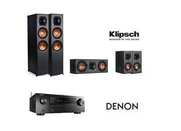 Klipsch R-820F & Denon AVRX2600H 5.0 Surround System - Black