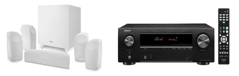 Denon AVR-X550BT 5.2 Ch. AV Receiver with Polk TL700 5.1 Speaker Package - Black / White