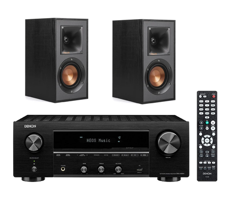 Denon DRA800H Network Receiver & Klipsch R-41M Bookshelf Stereo Package - Black + 6M Speaker Cable