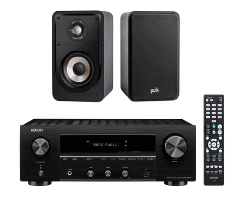 Denon DRA800H Network Receiver & Polk S15E Bookshelf Package - Black + 6M Speaker Cable