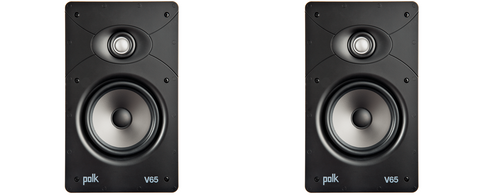 polk V65 Vanishing V Series High Performance In-Wall Rectangular Speaker - pair - White