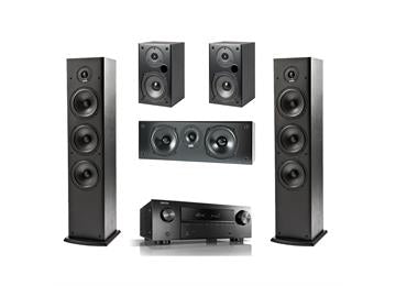 Denon AVRX550BT with Polk T-Series 5.0 speaker system - Black