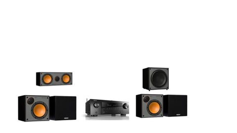 Monitor Audio SM50 Denon AVR-X1600H 5.1 Surround System - Black