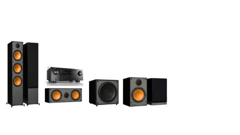 Monitor Audio SM300 / SM100 Denon AVR-X2600H 5.1 Surround System - Black