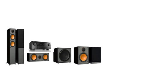 Monitor Audio SM200 / SM100 Denon AVR-X2600H - 5.1 Surround System - Black