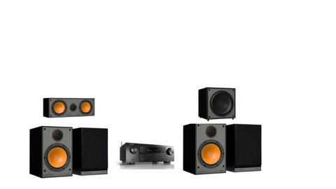 Monitor Audio SM100 Denon AVR-X1600H 5.1 Surround System - Black