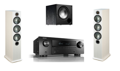 Denon AVR-X550BT 5.2 Ch. AV Receiver with 3.1 Monitor audio Floorstanding Speakers & Polk Subwoofer - Black/White Ash