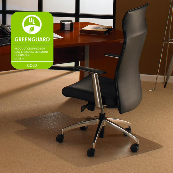"Cleartex Ultimat Polycarbonate Clear Chair mat for Plush Pile Carpets Over 1/2"" , Rectangular with Lip(48"" X 60"")"