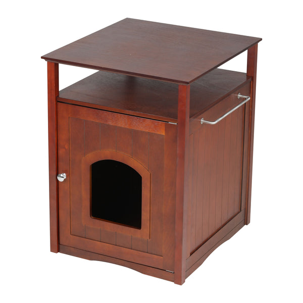 Cat Washroom Litter Box Cover / Night Stand Pet House` Walnut
