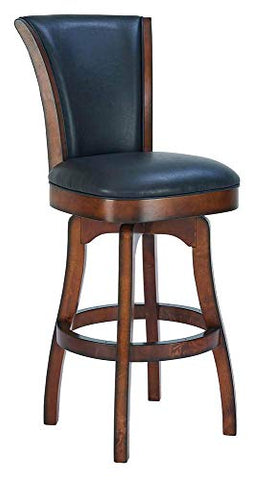 Raleigh 26 Counter Height Swivel Barstool in Rustic Cordovan Finish and Brown Bonded Leather