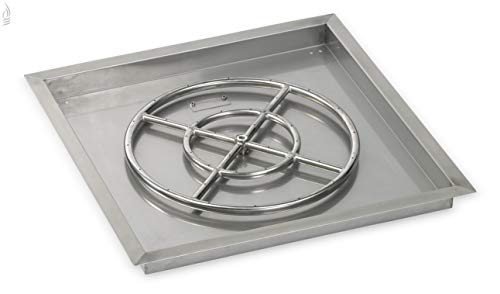 24 Square Stainless Steel Drop-In Fire Pit Pan (1/2 Nipple) w/ 18 Fire Ring Burner