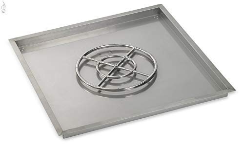 36 Square Stainless Steel Drop-In Fire Pit Pan (1/2 Nipple) w/ 18 Fire Ring Burner