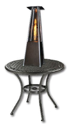 SUNHEAT Contemporary Square Design Tabletop Patio Heater with Decorative Variable Flame - Golden Hammered
