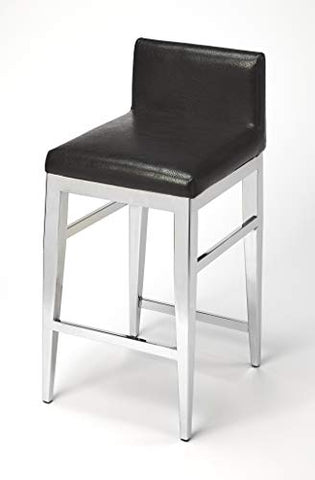 BUTLER KELSEY STAINLESS STEEL FAUX LEATHER COUNTER STOOL