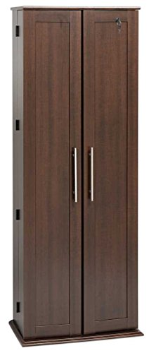 Grande Locking Media Storage Cabinet with Shaker Doors, Espresso
